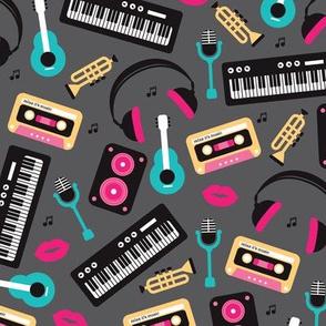 Retro music and lyrics jazz illustration pattern