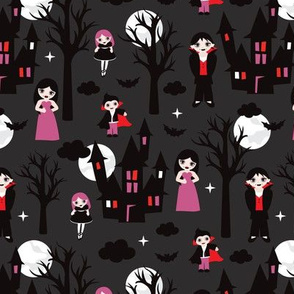 Spooky dark night full moon halloween vampire family illustration pattern