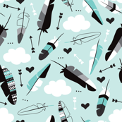 Geometric feathers pastel arrows and clouds illustration pattern