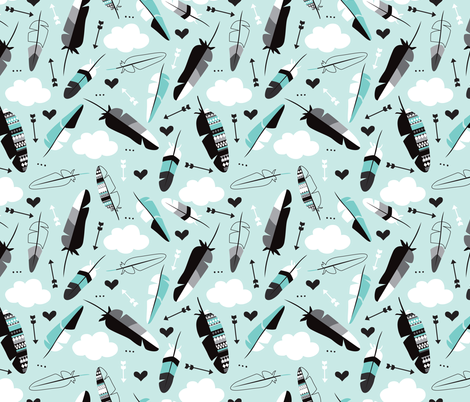 Geometric feathers pastel arrows and clouds illustration pattern fabric by littlesmilemakers on Spoonflower - custom fabric
