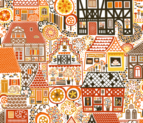 Old Town in Fall fabric by studio_amelie on Spoonflower - custom fabric