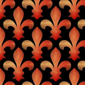 Fleur de Lis Red Gold on Black