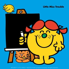Little Miss Trouble at the blackboard