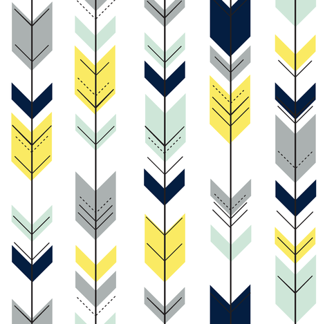Fletching Arrows // navy/mint/grey/yellow (small scale) on white ...