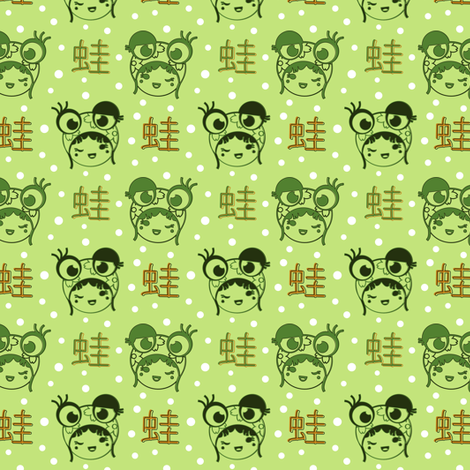 Kokeshi Frog Girl fabric by eppiepeppercorn on Spoonflower - custom fabric