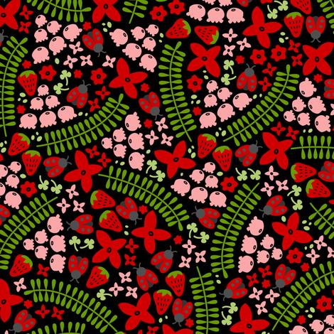 Lovely Ladybugs & Berries (Dark) fabric by robyriker on Spoonflower - custom fabric
