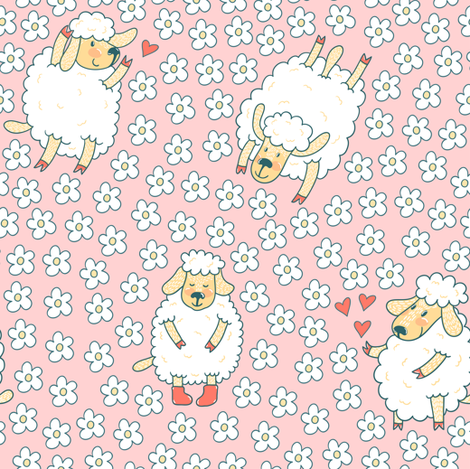 Cute sheep and floral meadow fabric by magicforestory on Spoonflower - custom fabric
