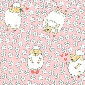 Cute sheep and floral meadow