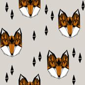 fox // grey and rust geometric fox head kid baby boy nursery kids