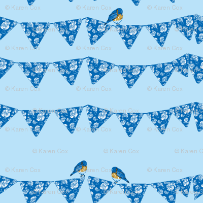 Bunting and Bluebirds on blue