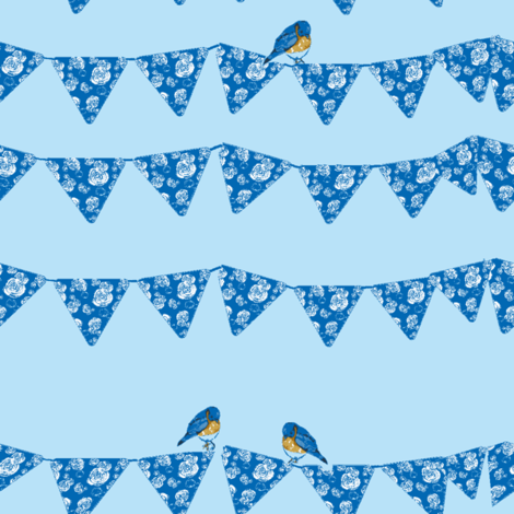 Bunting and Bluebirds on blue fabric by karenharveycox on Spoonflower - custom fabric