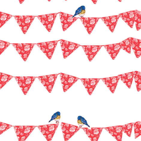 Bunting and Bluebirds on white fabric by karenharveycox on Spoonflower - custom fabric