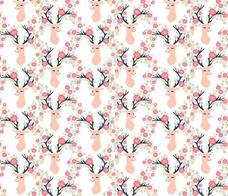 floral deer // deer with flowers antlers antler floral antler girls spring pink flowers fabric by andrea_lauren on Spoonflower - custom fabric
