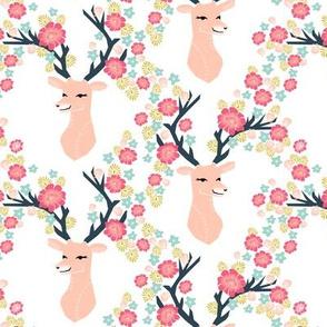 floral deer // deer with flowers antlers antler floral antler girls spring pink flowers