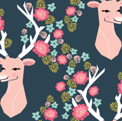 floral deer // deer head flowers spring girls sweet flowers floral deer antlers