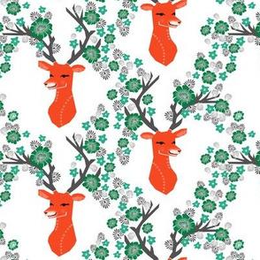 christmas deer // nordic flower red and green deer head cute xmas christmas deer