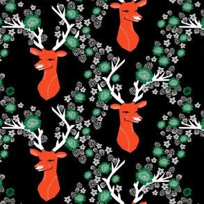 christmas deer // flowers red and green antlers buck doe christmas xmas