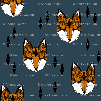 fox head // geometric fox head kids nursery baby boy nursery