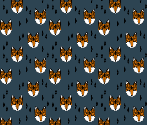 fox head // geometric fox head kids nursery baby boy nursery fabric by andrea_lauren on Spoonflower - custom fabric