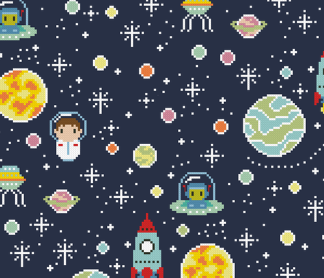 Oh space boy fabric cloudsfactory spoonflower for Space boy fabric