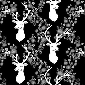 deer with flowers // black and white floral antlers