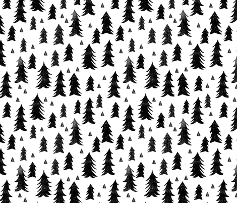 forest trees // black and white minimal baby nursery fabric by andrea_lauren on Spoonflower - custom fabric
