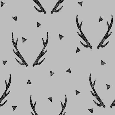 antlers // grey antler antlers triangles deer kids baby