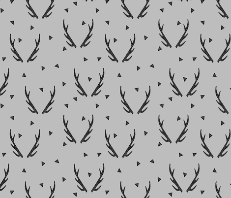 Antlers grey antler antlers triangles deer kids baby for Grey childrens fabric