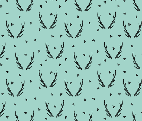 antlers // mint triangles kids baby sweet nursery baby  fabric by andrea_lauren on Spoonflower - custom fabric