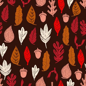autumn leaves // autumn fall linocut fabric andrea lauren acorns oak maple leaf autumn colors
