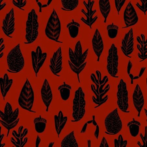 autumn leaves // maroon leaf fabric nature fabric design andrea lauren fabrics cute nature fabric design