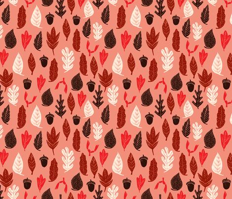 leaves // autumn fall design andrea lauren fabric linocut leaf acorn oak leaf leaves fabric by andrea_lauren on Spoonflower - custom fabric