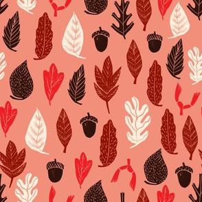 leaves // autumn fall design andrea lauren fabric linocut leaf acorn oak leaf leaves