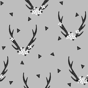 antlers // floral antlers grey baby nursery sweet triangles baby antler