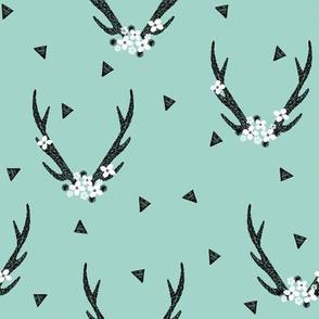 floral antlers // mint flowers floral antlers antler baby kids nursery sweet