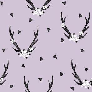floral antlers // purple flowers antlers triangles girls sweet pastel baby antlers