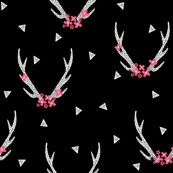 floral antlers // black and white floral flowers antlers triangles geometric kids girls sweet baby