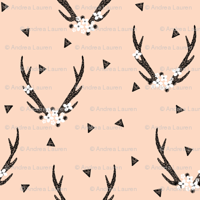 floral antlers // baby blush girls sweet nursery flowers floral antlers deer