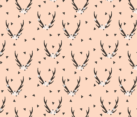 floral antlers // baby blush girls sweet nursery flowers floral antlers deer fabric by andrea_lauren on Spoonflower - custom fabric