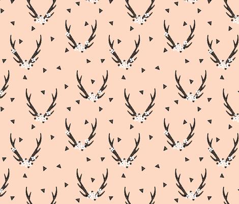 floral antlers // baby blush girls sweet nursery flowers floral antlers deer fabric by andrea_lauren on Spoonflower - custom fabric
