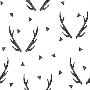 antlers // antler black and  white triangles tri kids baby nursery