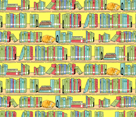The Library Cat larger version fabric by vinpauld on Spoonflower - custom fabric