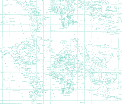Pantone Teal and White Map fabric by aftermyart on Spoonflower - custom fabric