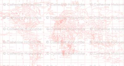 Pantone Pink Map Fabric