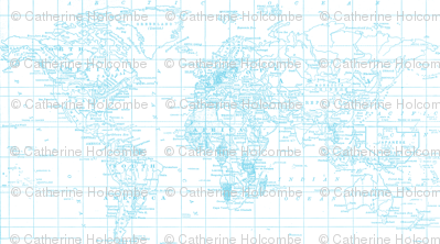 Pantone Blue Map Print Fabric
