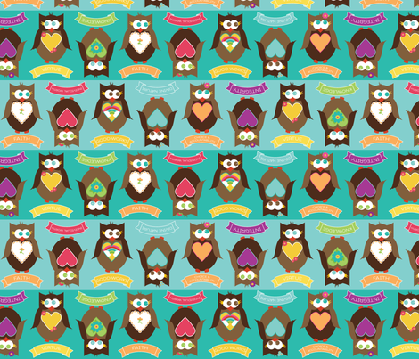 Personal Progress V{owl}ues Large Owls Blue fabric by hang_a_ribbon_on_the_moon on Spoonflower - custom fabric
