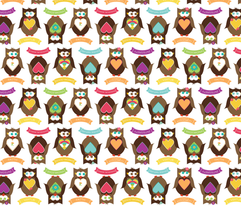 Personal Progress V{owl}ues Large Owls White fabric by hang_a_ribbon_on_the_moon on Spoonflower - custom fabric