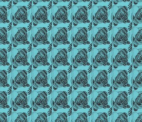 turquoise snail 3.0 fabric by jaybee24 on Spoonflower - custom fabric