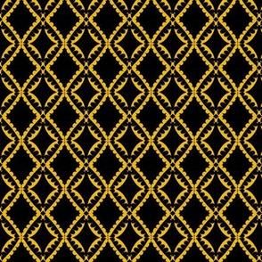 Eyelet Crochet Lace Gold Black