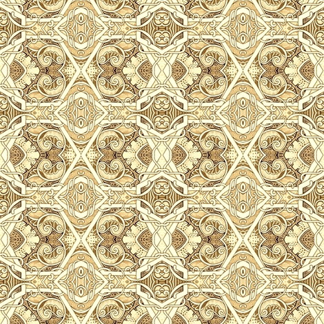 Hexagon Gone Ivory fabric by edsel2084 on Spoonflower - custom fabric